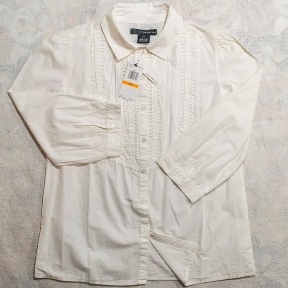 63ecbc47 Calvin Klein Jeans Tops | Nwt 70 Buttondown Ls Shirt | Poshmark